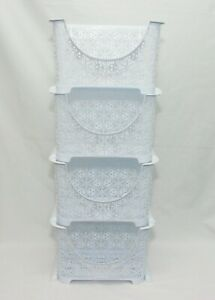 4Tier-Stack-Nest-Plastic-Fruit-Vegetable-Kitchen-Storage-Rack-Trolley-WHITE