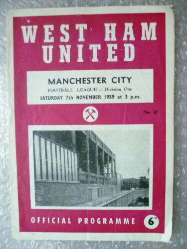 1959 WEST HAM UNITED v MANCHESTER CITY League Div One, 7th Nov