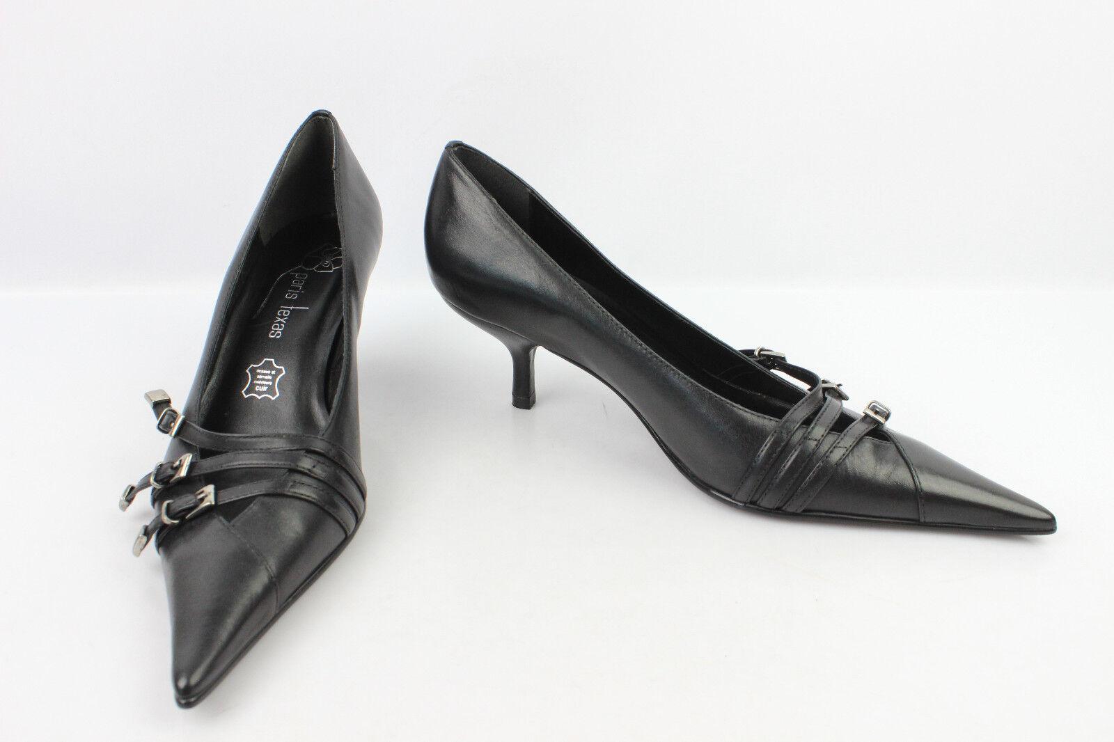 Court shoes Sharp  pointed PARIS TEXAS Black Leather T 38 MINT