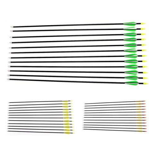12 Fibreglass Archery Arrows with Plastic Tip Suits Compound /& Recurve Bow