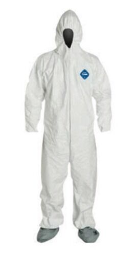 Dupont TY122S White Tyvek Coverall Bunny Suit Hood /& Boots 1-3XL Pack of 72