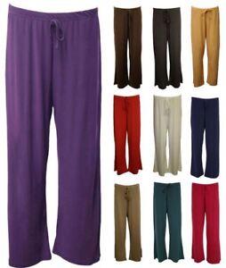 Ladies Womens Straight Leg Wide Leg Baggy Flared Plain Palazzo Trousers Pants