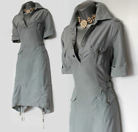 Rare Karen Millen Duck Egg Blue Military Safari Shirt Trench Dress UK 8  EU 36