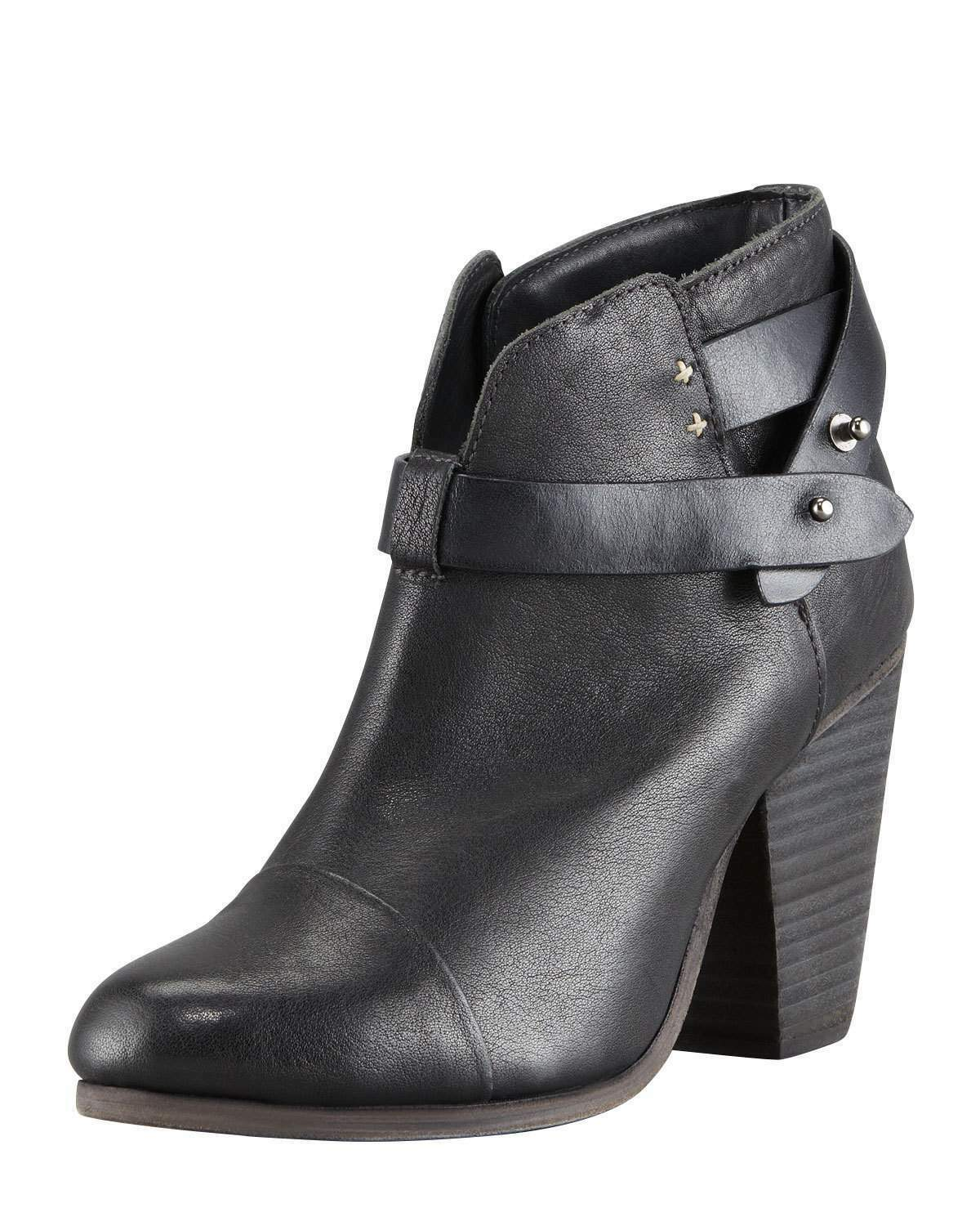 Rag & Bone Harrow Leather Ankle Boots Black Size 35 1 2