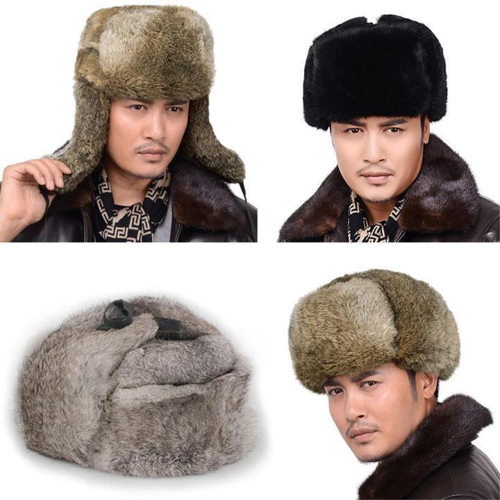 Thick Tops Real Rabbit Fur Winter Bombers Warm Cap Earflap Russian Bombers Winter Guard Hat 66f609