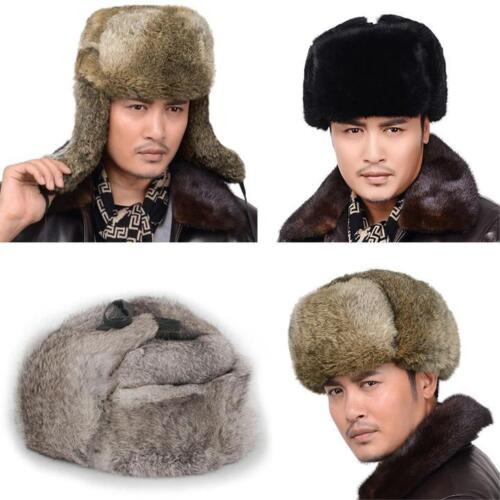 Men/'s Fluffy Rich Rabbit Fur Warm Hat//Russian Bombers Cheek Hat Gray Black XL