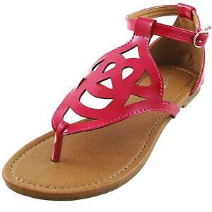 new women's shoes sandal flat t strap buckle closure