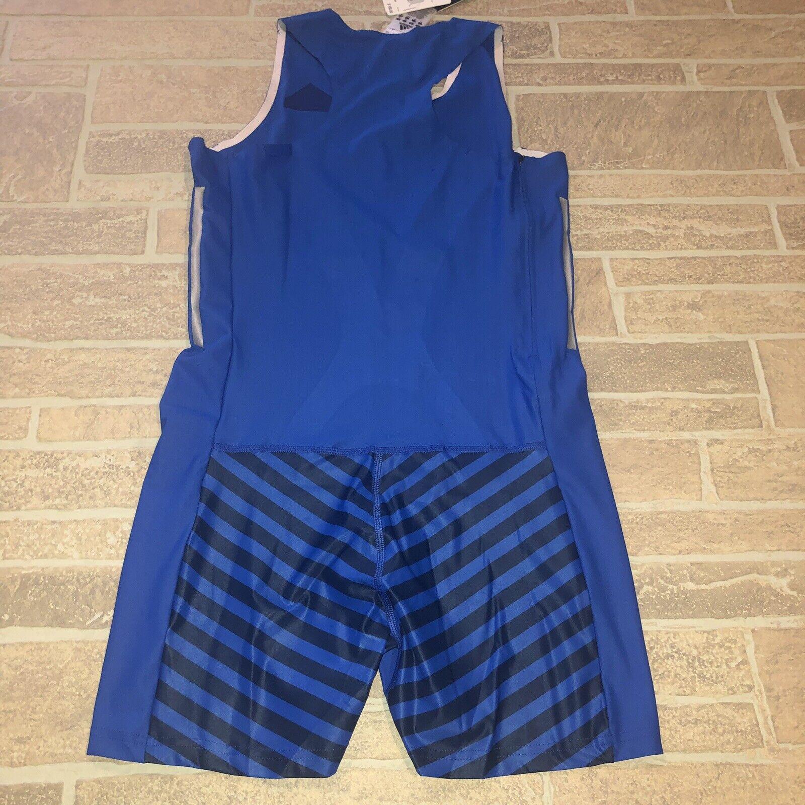 New ADIDAS LEOTARD women one-piece gymnastics Climalite shorts bluee L MSRP