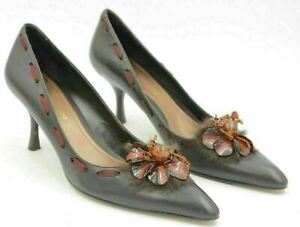 Enzo Angiolini Women Pointed Toe Pump Heels Size US 7.5M Brown Leather