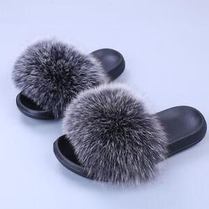 8c3137919ec7 2017 New Flat Women Real Fox Raccoon Fur Sliders Slippers Indoor ...