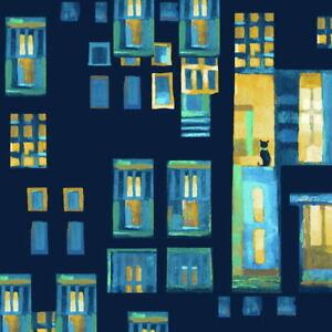 City-Lights-Citron-Cats-in-Windows-Karen-Gillis-Taylor-Clothworks-Fabric-BTY