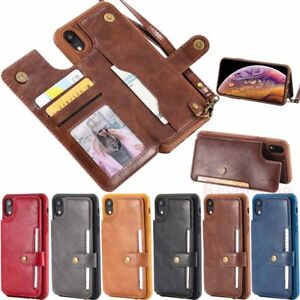 For iPhone 11 Pro XS Max 6s 7 8 Plus Leather Wallet Card Holder Phone Case Cover