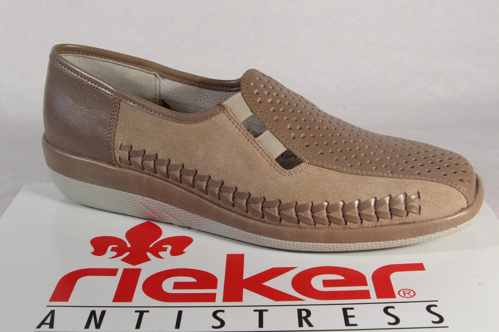 Cómodo y bien parecido Descuento por tiempo limitado Rieker Zapatilla Bajo Zapatos Bailarina Zapatillas Cuero Auténtico beis NUEVO