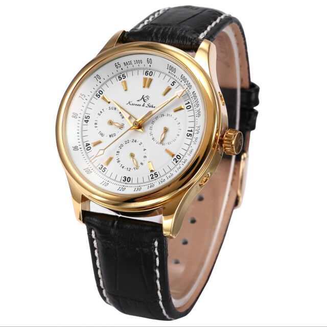 KS Elegant Mens Automatic Mechanical Date Day 24 Hours Leather Wrist Watch