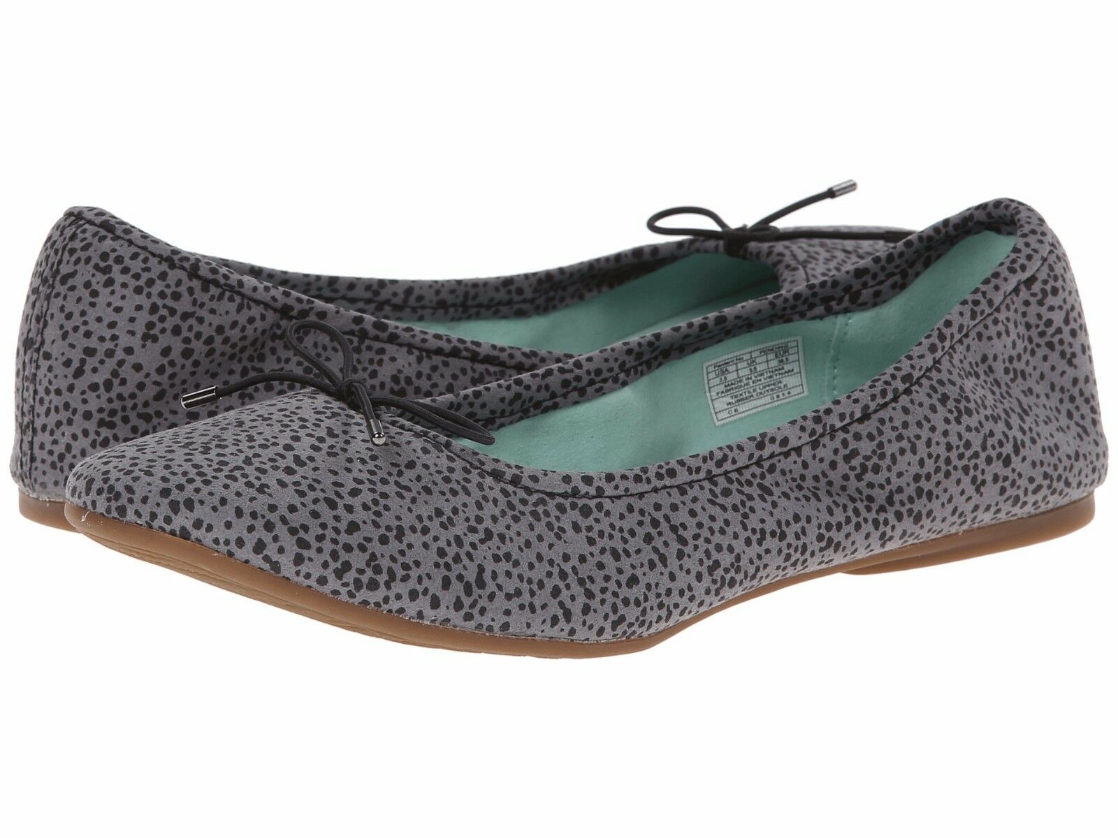 Sanuk Pantofole Yoga Prima Donna Balletto Pantofole Sanuk 7 Grigio Animale Pois Nuovo 7b1329