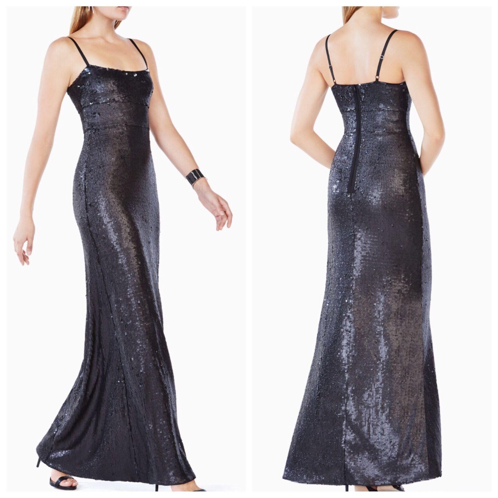 4c6ec78a9a1b49 Bcbg Max Azria Neu Gisselle Schwarz Pailletten Abendkleid Kleid Größe M
