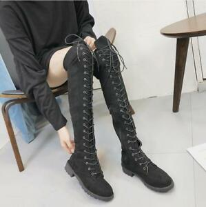 Women-Round-Toe-Over-Knee-Boots-Lace-Up-Side-Zip-Pull-On-Knight-Casual-Shoes-New
