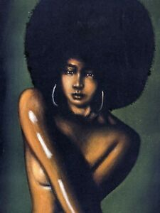 Afro-Hair-NUDE-woman-in-Black-Velvet-Oil-Painting-Canvas-16x20