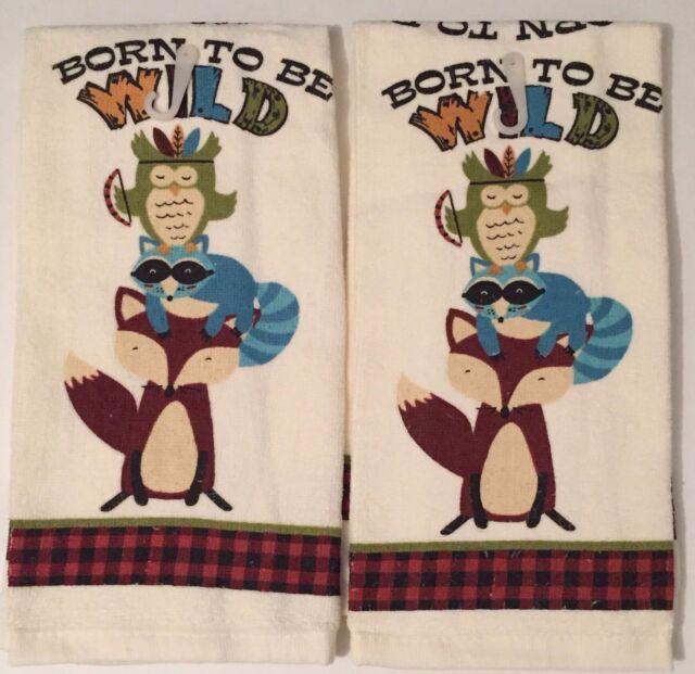 Ritz Woodland Born To Be Wild Fox Owl kitchen dish towels Set of 2