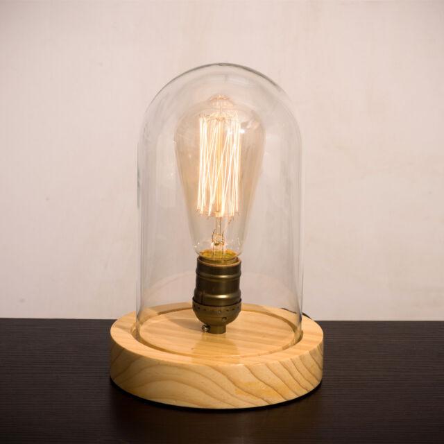 Industrial Vintage Retro LOFT Natrual Wooden Table Desk Lamp Edison Light Bulb