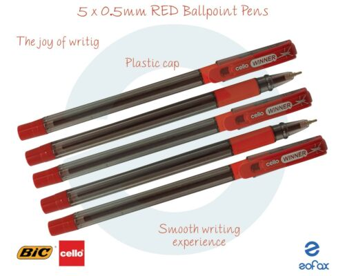 5 x 0.5mm BIC CELLO Winner RED Fine Ballpoint Pens Soft Grip Smooth Writing