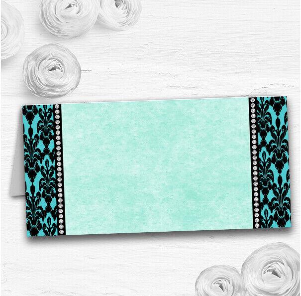 Turquoise Damask & Diamond Wedding Table Seating Name Place Cards