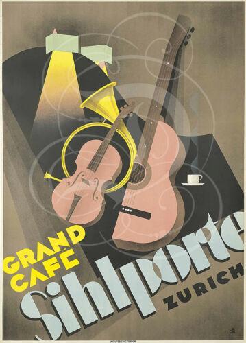 REPRO AFFICHE GRAND CAFE SIHLPORTE ZURICH BFK RIVES 310GRS VIOLON COR DE CHASSE
