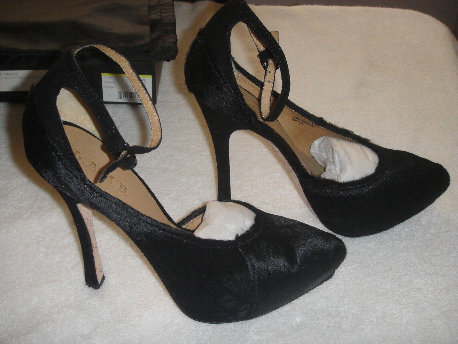 prezzo basso Gwen Stefani Stefani Stefani L.A.M.B Pounce Pony Hair nero Suede Platform Pump scarpe Heel 9  350  risparmia fino al 70%