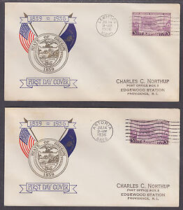 US-Planty-783-19-FDCs-1936-3c-Oregon-Territory-All-5-First-Day-Cities