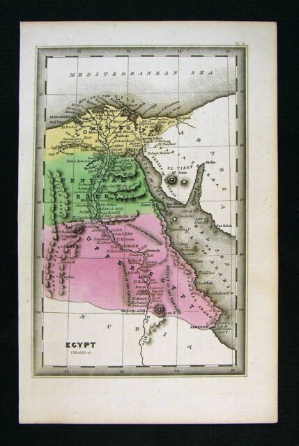 1832 Carey Map Egypt - Cairo Alexandria Great Pyramids Thebes Luxor on