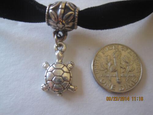 "Black Choker Velvet ribbon 12/"" adjustable gothic Necklace w//lucky turtle Charm"