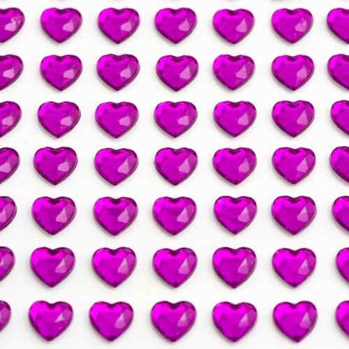 Hearts Self Adhesive Sheets 6mm 10mm Diamante Rhinestone Gems Crystals Craft