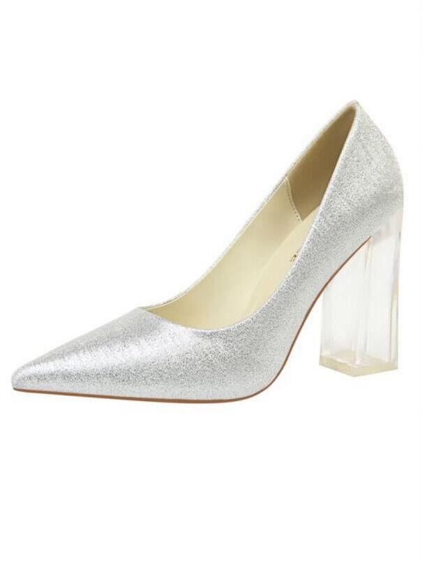 Pumps Schuhe Transparent Elegant Silber Eckig 10 Leder Kunststoff 1743