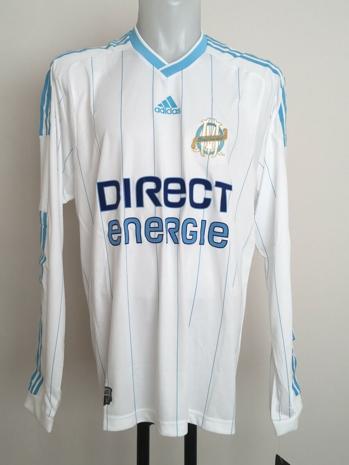 OLYMPIC MARSEILLE L S PLAYER ISSUE 2009-10 HOME SHIRT BY ADIDAS SIZE MEN'S XL