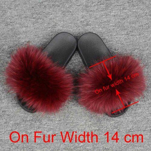 Echt Pelz Hausschuhe Waschbär Pelz Folien 14cm Breit Flauschige Flip Flops96020W