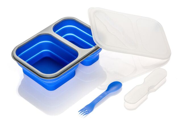 Silicone Collapsible Food Container Dual Compartment W 2 In 1