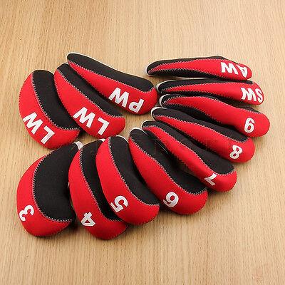 12PCS Black Red Neoprene Golf Iron Cover Headcover For Mizuno Cobra Taylormade