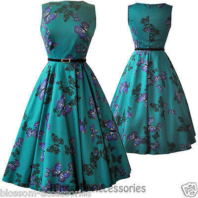 RKL4 Lady Vintage Hepburn Teal Green Butterfly 50s Swing Retro Rockabilly