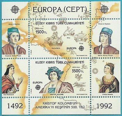 entdeckung Amerika Reinigen Der MundhöHle. Briefmarken Trendmarkierung Türkisch-zypern Aus 1992 ** Postfrisch Block 10 Minr.332-333 Europa