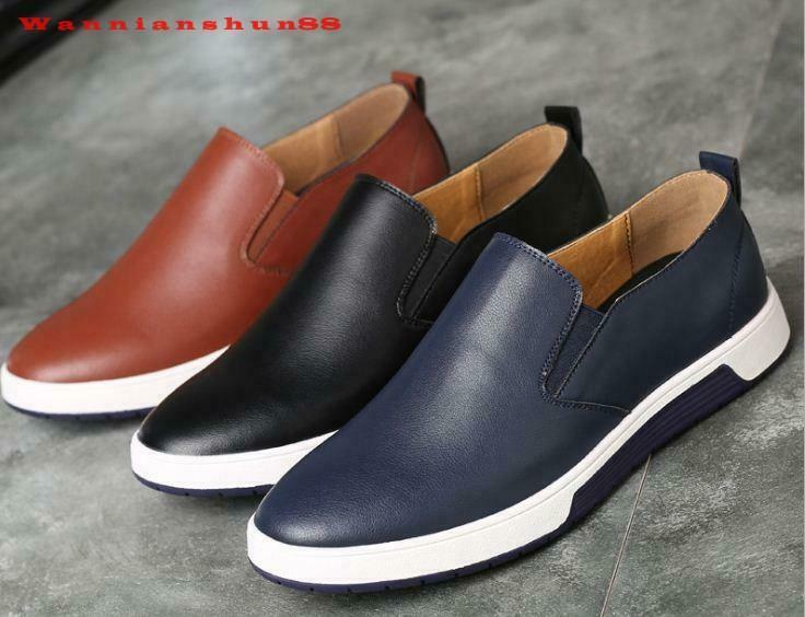 Fashion Men's Real Leather Pure color Slip On Casual Dress shoes Plus Size