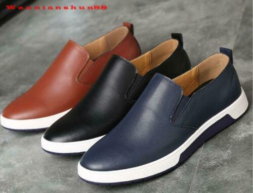 Mens real leather pure color slip on casual Dress Shoes plus size