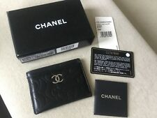 AUTHENTIC CHANEL CAMELLIA LAMBSKIN LEATHER BLACK CARD CASE HOLDER ITALY RARE