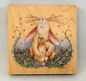 STAMPS-HAPPEN-Proud-Mother-Rabbit-70010-Large-Wood-Mounted-Rubber-Stamp-NEW