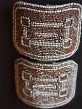 2 Antique Art Deco FRENCH Cut Steel~Back Nude Satin~Bronzed Pearls Shoes Buckles