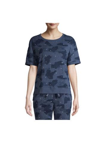 Details about  /Secret Treasures Size L Blue Indigo Camo Print Pajama Short Sleeve Top 12-14