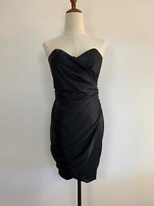 Wayne-Cooper-Women-039-s-Strapless-Black-Silk-Draped-Dress-S-A5