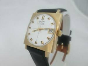 NOS-NEW-SWISS-MADE-GOLD-PLATED-AUTOMATIC-MEN-039-S-RECORD-WATCH-WITH-DATE-1960-039-S
