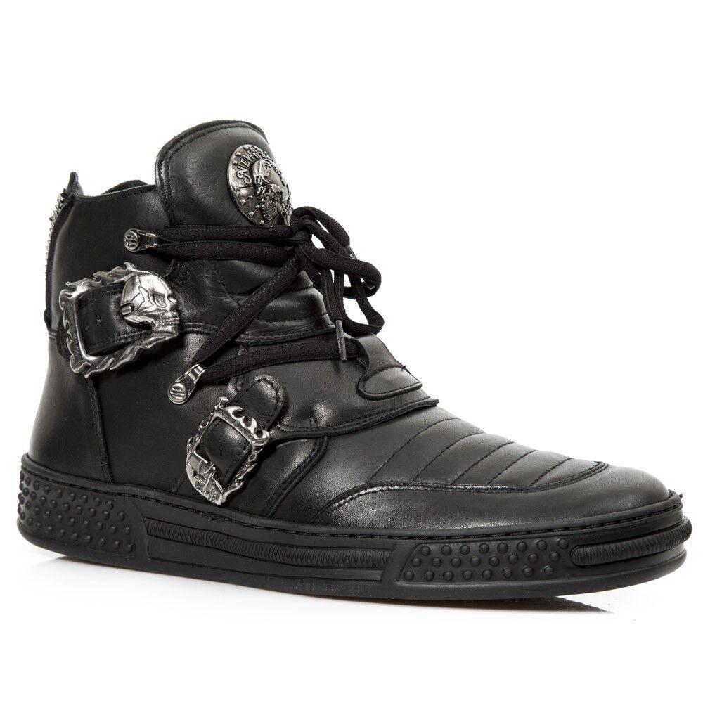 New Rock newrock M.PS049-S1 Negro Cuero Zapatos Zapatillas Cyber Punk Gótico