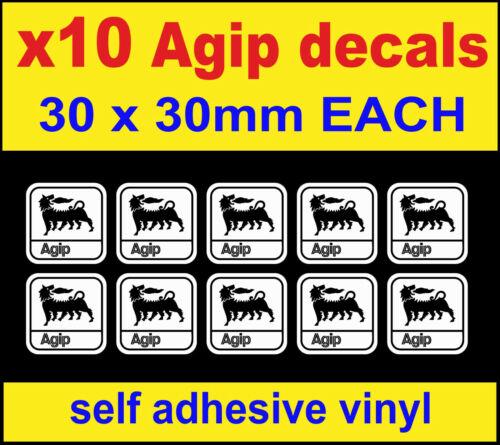 B/&W 10 Agip oil sponsor stickers van mini gp rally race bike motorbike car decal