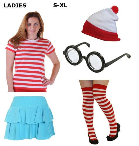 Le Donne Adulte Uomini rossa e bianca a righe T SHIRT LOTTO Costume Libro Settimana Costume